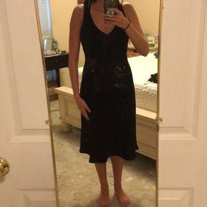 Long black formal wear dress with sheer style back